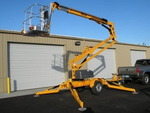 We rent trailer mounted and self propelled boom lifts